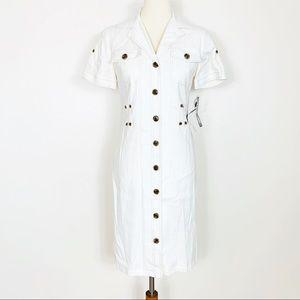Tahari Linen Button Down Dress Cream Size 2